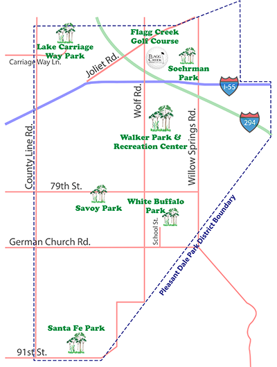 map of Pleasant Dale parks